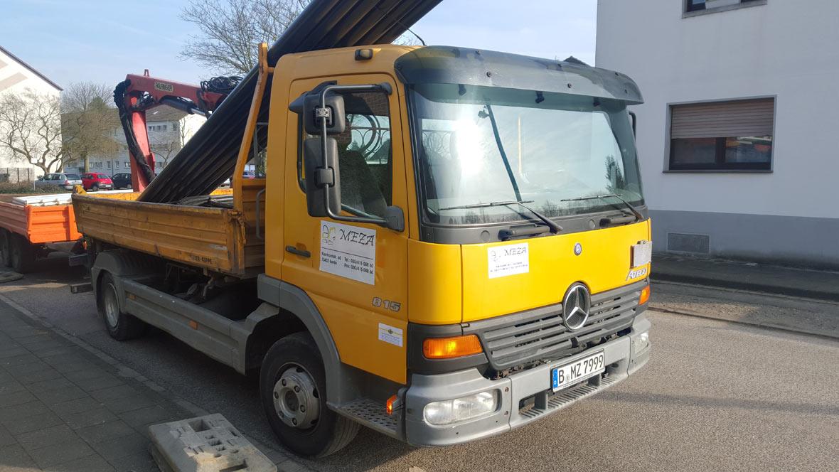 Transport Baumaterial, Baumaschinen, MEZA Leitungsbau GmbH